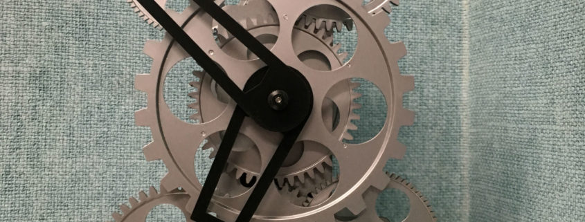 clock windup gears exposed