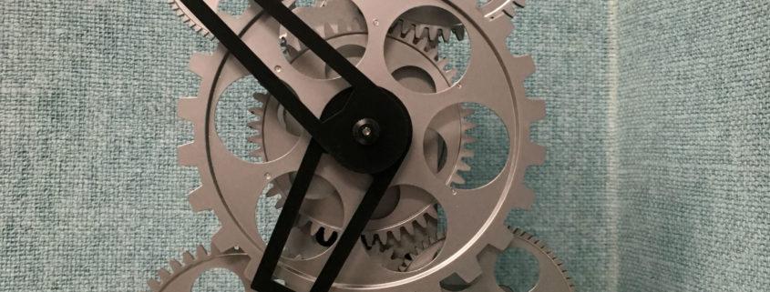 clock windup gears exposed
