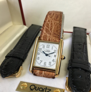 cartier must de tank with leather strap options