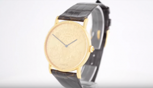 Corum Gold Coin Watch with blue hands
