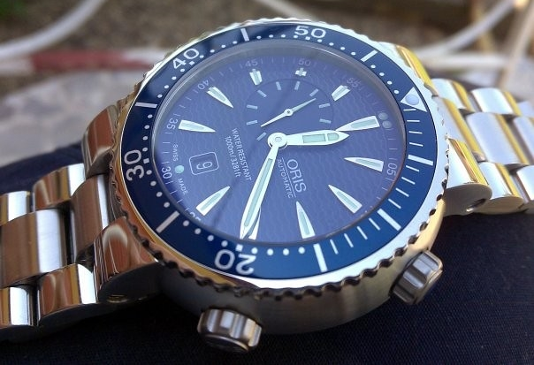 oris divers watch automatic blue stainless