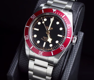 tudor red bezel insert stainless steel mens watch