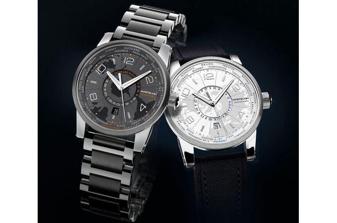 montblanc worldtimer black and white automatic watches
