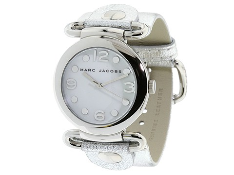 marc jacobs stainless steel quartz watch leather strap