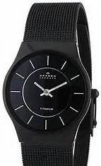 skagen black quartz watch mens fashion watch