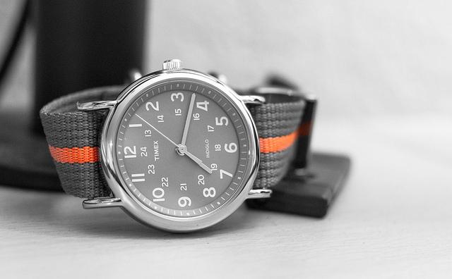 timex black dial with orange nato strap